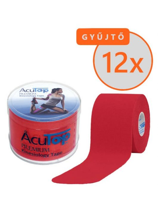 ACUTOP Premium Kineziológiai Szalag / Tapasz 5 cm x 5 m Piros 12 DB/GYŰJTŐ